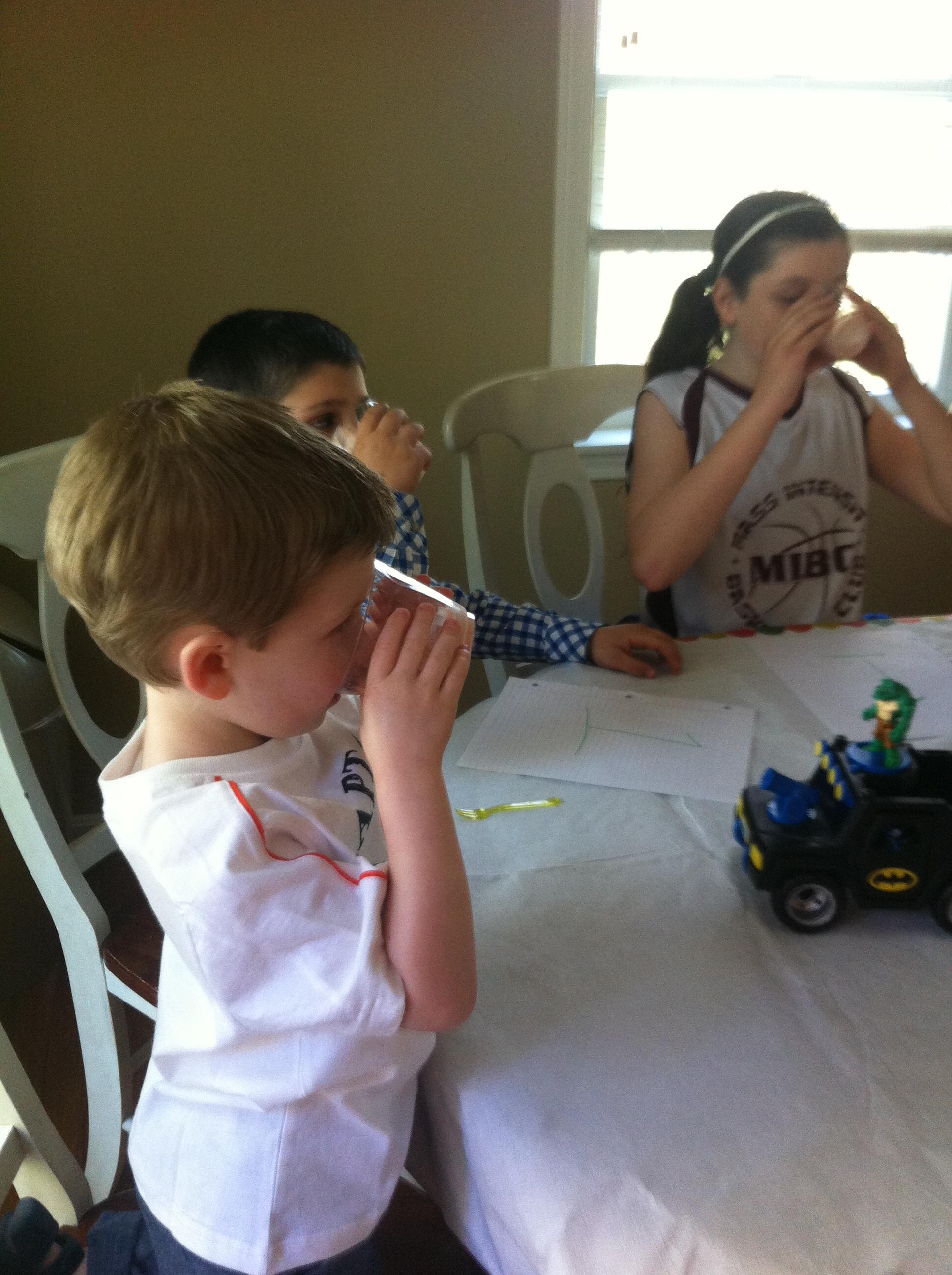 Nice shot of kids drinking smoothies