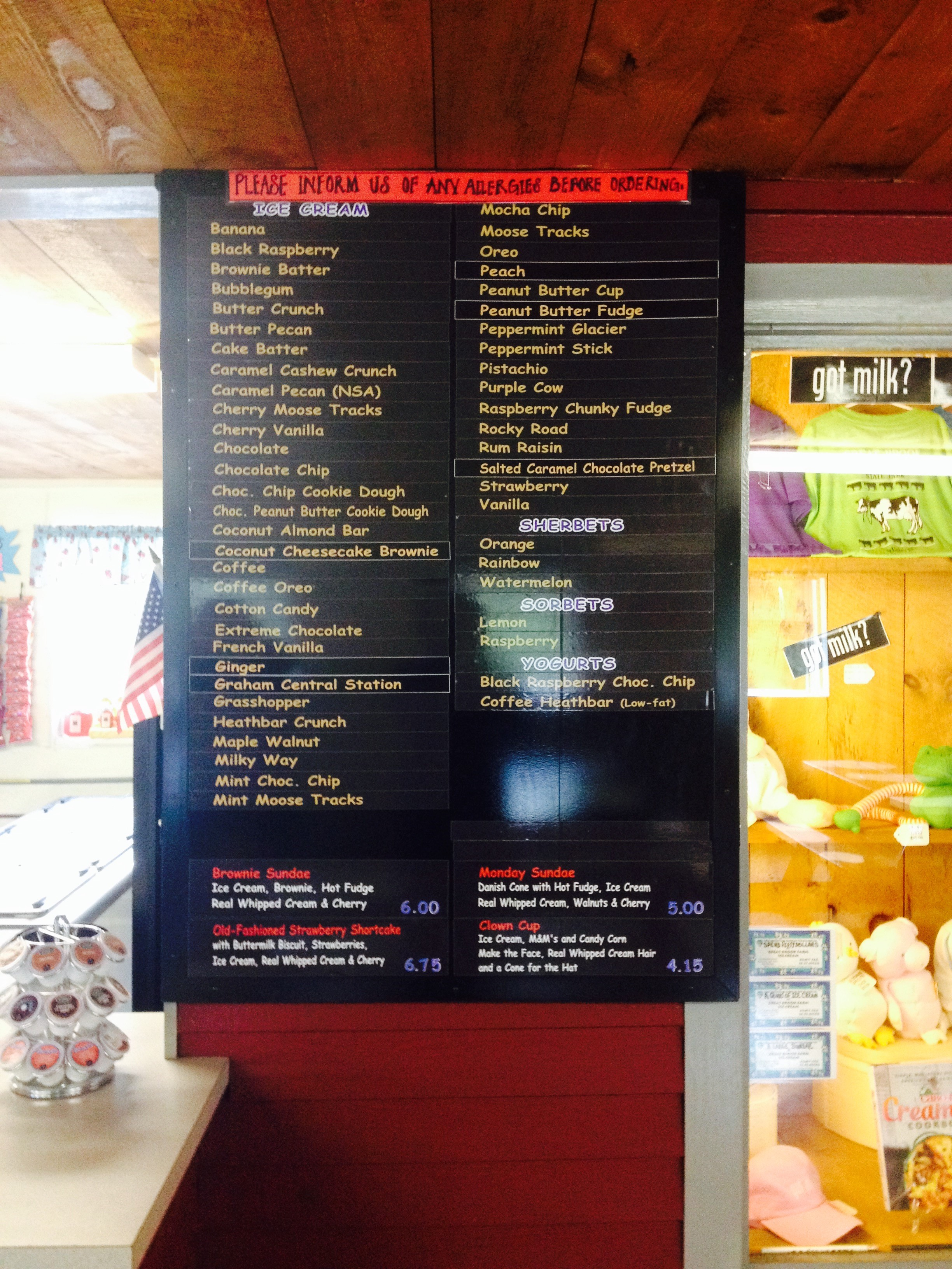 Ice Cream List at Great Brook Farm State Park