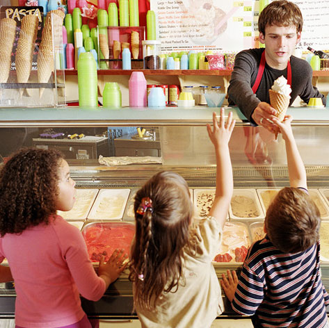 kids getting ice cream at counter