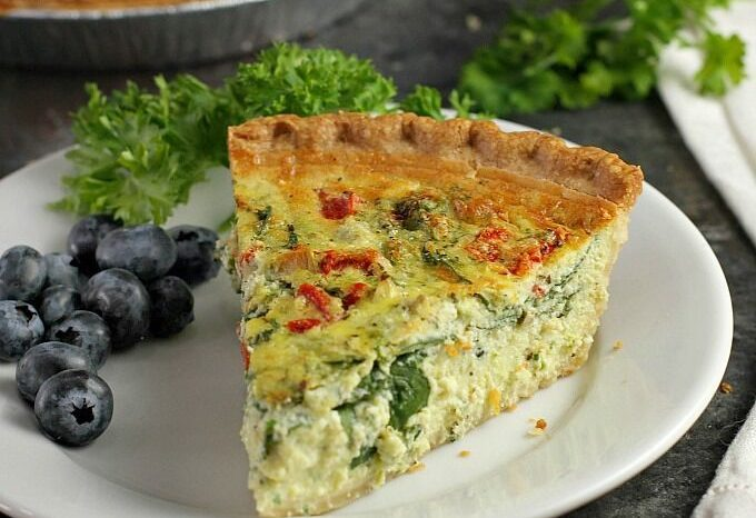 Spinach Quiche with Artichokes and Roasted Red Peppers